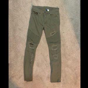 Men's olive green distressed moto skinny jeans